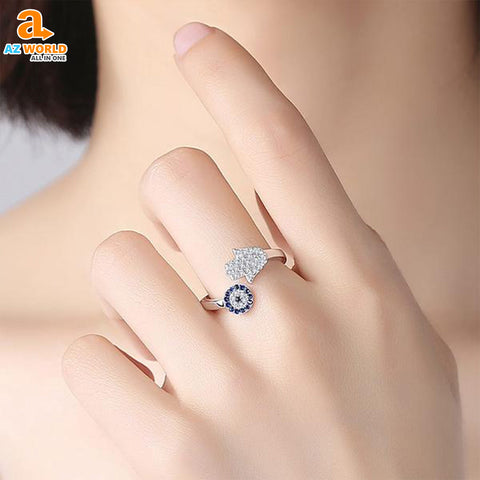 Image of 925 Sterling Silver Hamsa Hand Ring 02 - M2