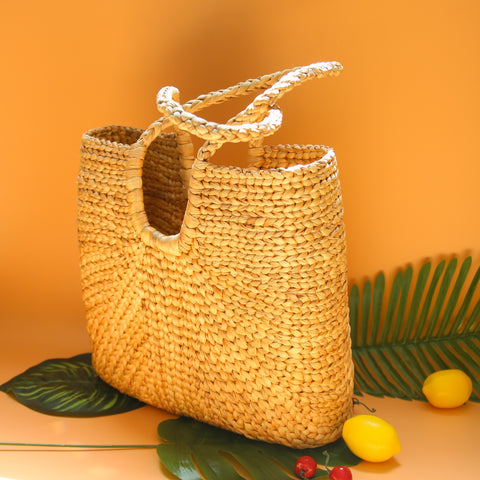 Image of AZ Exclusive Handmade Water Hyacinth Straw Beach Bag - LTL001
