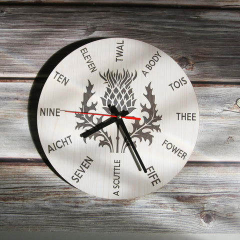 Scottish Thistle Flower Wooden Wall Clock