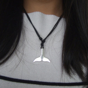 Silver Whale Tail Wax Cord Necklace