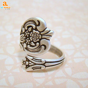 Antiqued Silver Spoon Ring 02 - M2