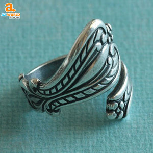 Antiqued Silver Spoon Ring - M2