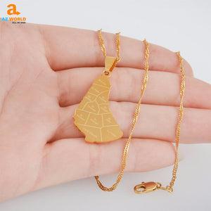 Barbados Map Golden Necklace with City - M2