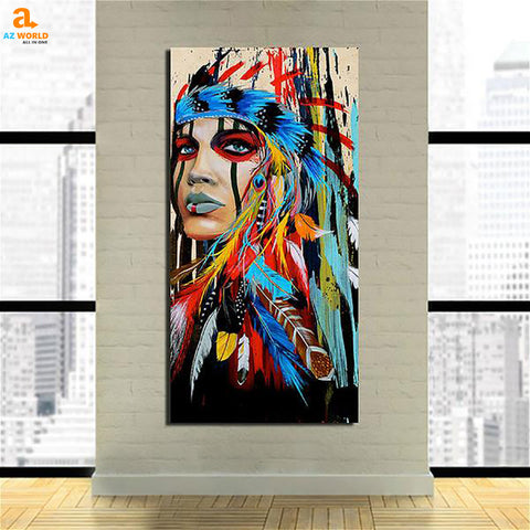 red, purple, native american, green, for livingroom, for home, for bebroom, Canvas Wall Art, canvas, Az World Store