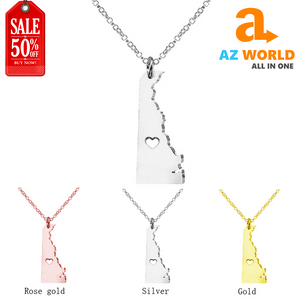 Delaware State Map Pendant Necklace - TK
