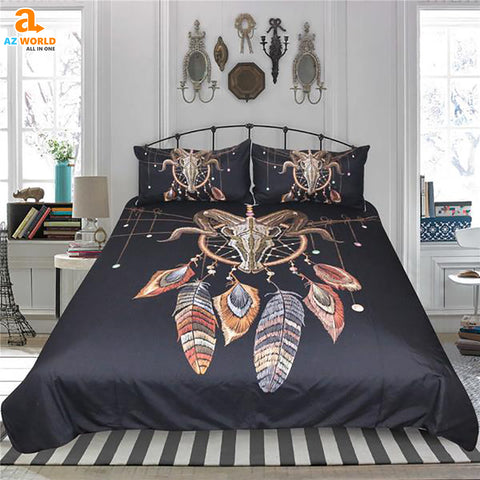 Skull Feathers Indian Boho Dream Catcher Bedding Set - N1