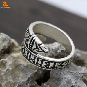 Dragon Viking Runes Elder Futhark Ring - M2
