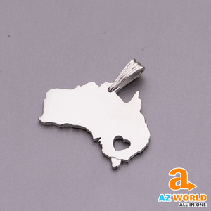 Australia Map Silver Necklace