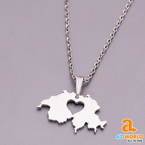 Switzerland Map 925 Silver Necklace