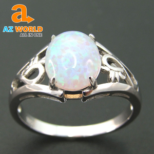 Fashion Silver White Fire Opal Ring - TK