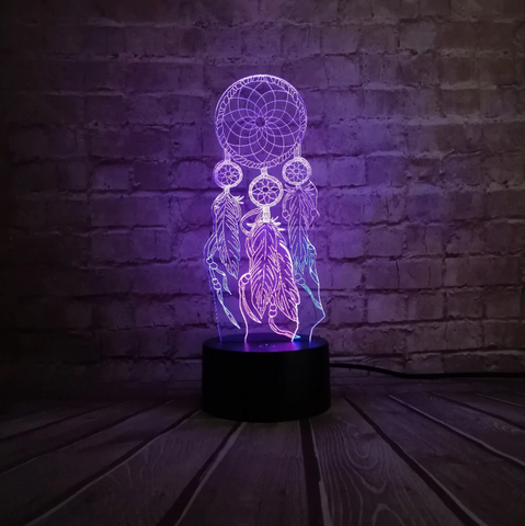 Table Lamp Switch Dream Catcher 3D Touch Night Light Bedroom, Home decor