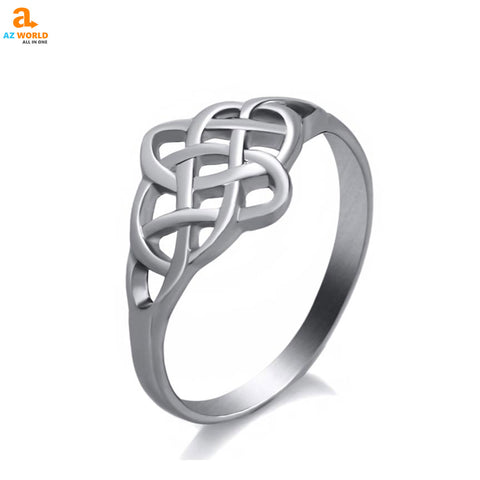 Stainless Steel Celtic Knot Ring stainless steel silver SCOTTISH SCOTLAND rings ring Knot gift classic celtic Az World Store akito