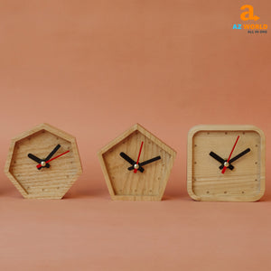 Natural Wooden Handcrafted Pentagon Clock - M