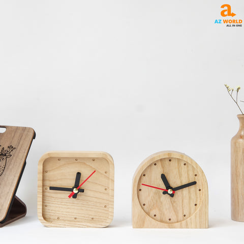 Natural Wooden Handcrafted Square Clock - M