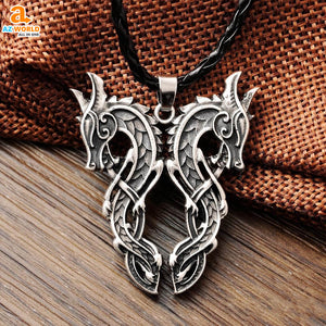 vikings, Viking Double Dragon Pendant Necklace, viking, sweden, pendant necklace, pendant, norway, necklaces, necklace, jewelry, iceland, finland, dragon, denmark, Az World Store