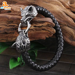 Viking Wolf Head Stainless Steel Bracelet - M2