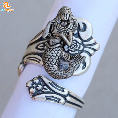 Vintage Mermaid Ring akito spoon ring rings ring Mermaid AZ world store