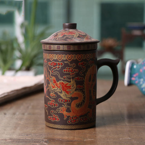 Image of Dragon and Phoenix Purple Clay Tea Pot - TR