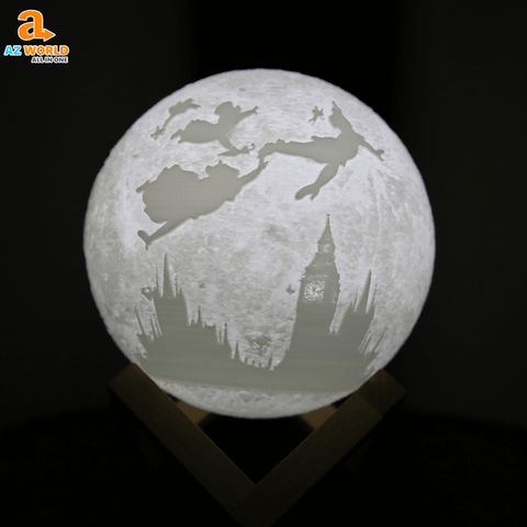 moon lamp, usb charge, night lamp, lamp, moon, easy, home decor, bedroom, peter pan, neverland , peterpan