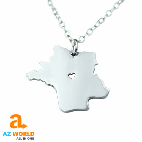 world cup, world cup 2018, SOCCER, FOOTBALL, FRANCE, FRENCH, FRANCE FLAG, NECKLACE, MAP, STAINLESS STEEL, SILVER