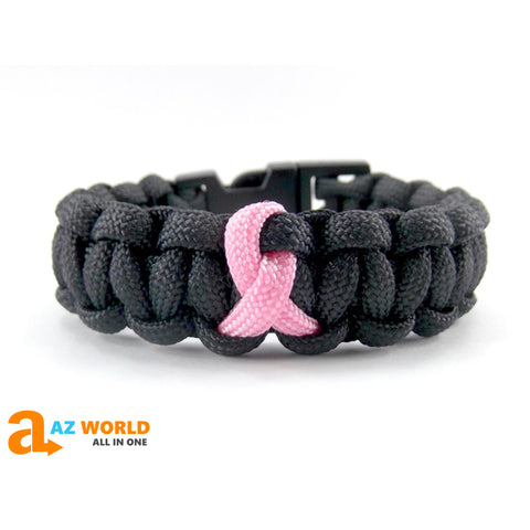 Breast Cancer Handmade Paracord Bracelet - Black with Pink ribbon