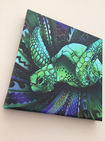 Image of Samoan Turtle With Tribal Polynesian Canvas - Y7