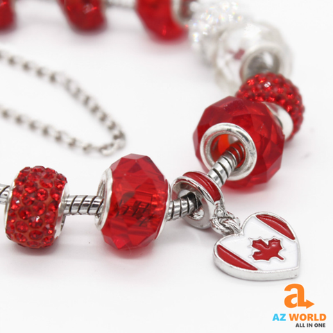 Image of Canada Flag Charms Bracelet - M2