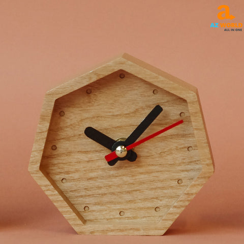 Natural Wooden Handcrafted Hexagon Clock - M