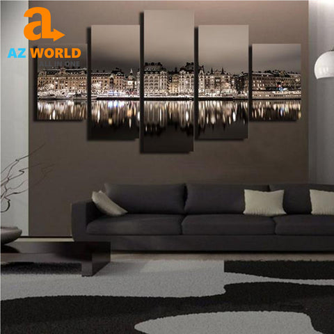 Stockholm City Night Canvas Wall Art - M