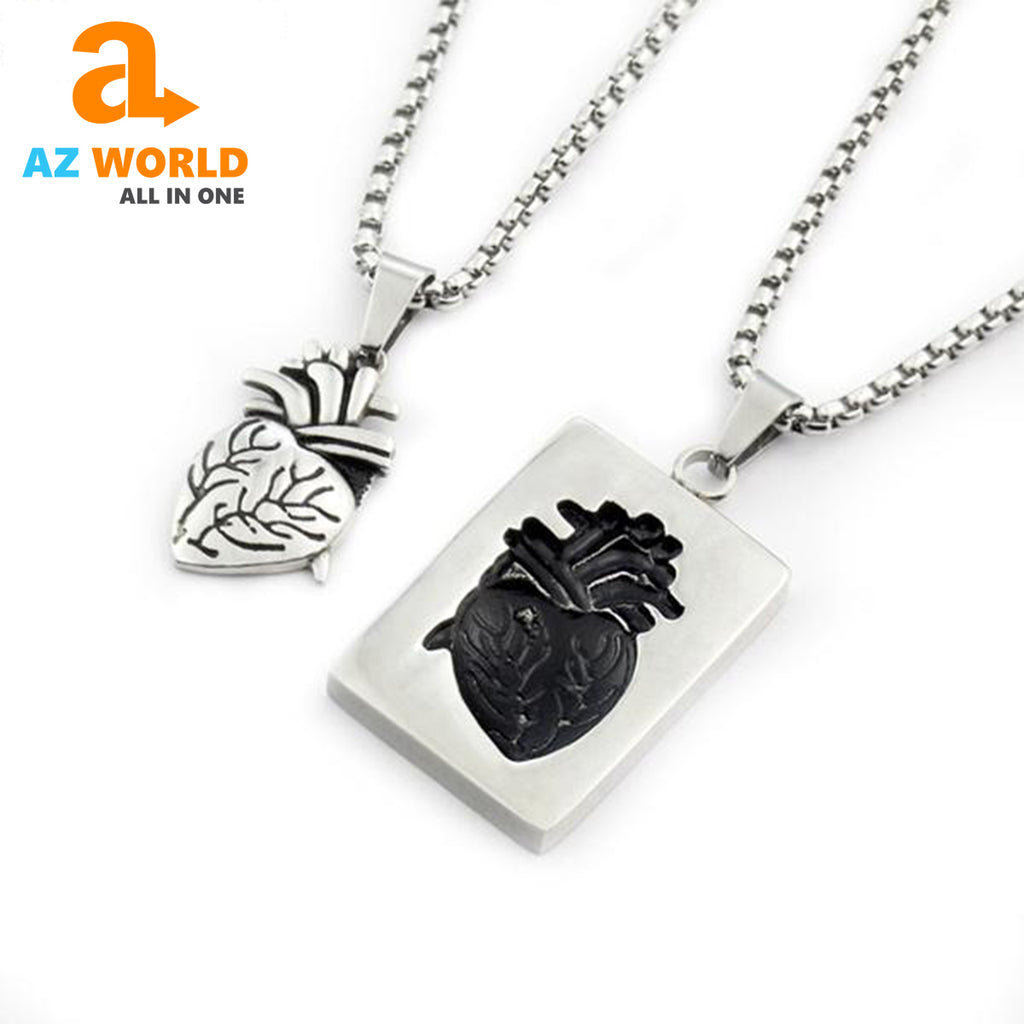Couple Anatomical Heart Necklace - M