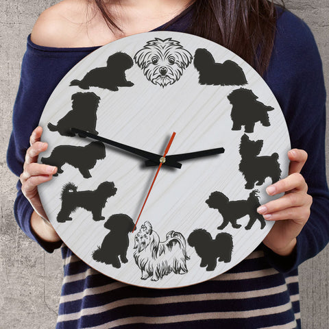 Maltese Dog Wooden Wall Clock