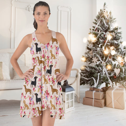 AZWorld-DachshundFlower™ Knee Length Dresses- Special Limited Christmas Edition