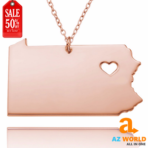 Pennsylvania Map Stainless Steel Pendant Necklaces - TK