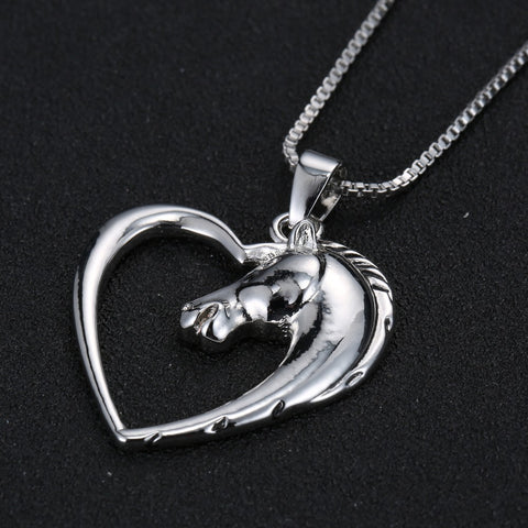 Horse in Heart Necklace - T