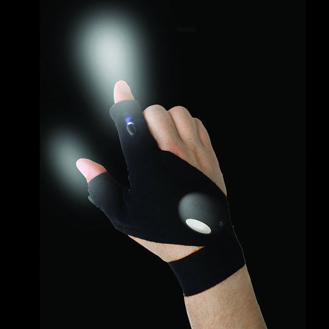 Outdoor Fishing Magic Strap Fingerless Glove LED Flashlight - T