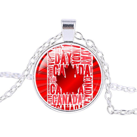 Image of Canadian Flag Logo Necklace  Pendant Silver - N