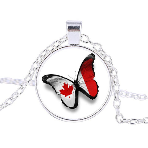 Canadian Flag Logo Necklace  Pendant Silver - N