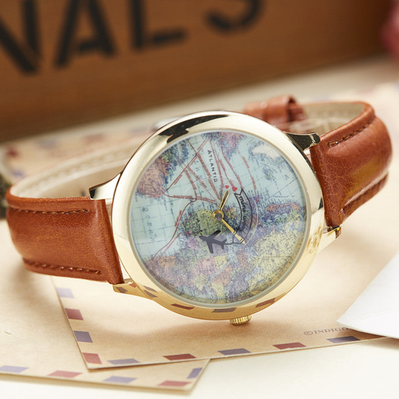 3D World Map Leather Watch - P