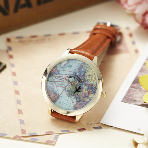 Image of 3D World Map Leather Watch - P