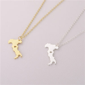 Italia Map Gold/Silver Plated Necklaces