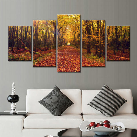 Canada 5 Panels Maple Leaf Canvas Art - TR