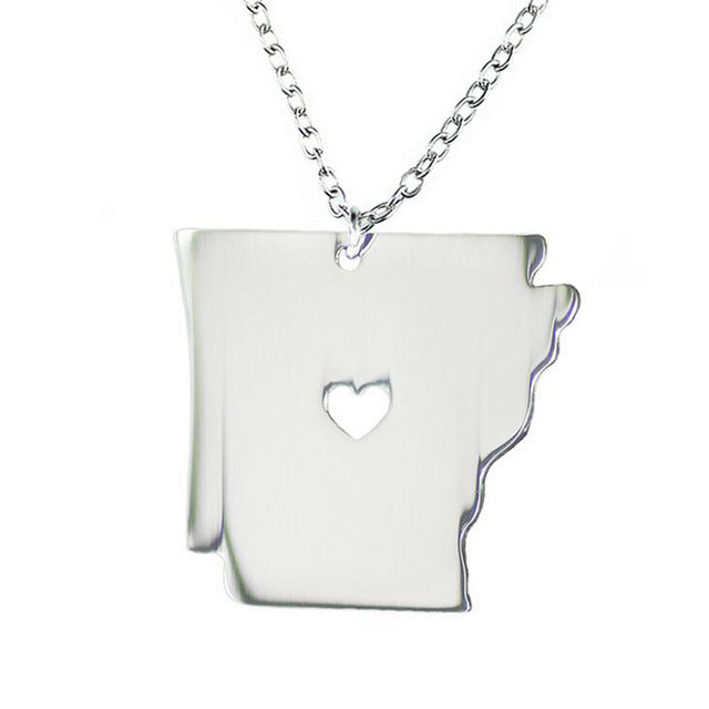 Arkansas US State Map Necklaces