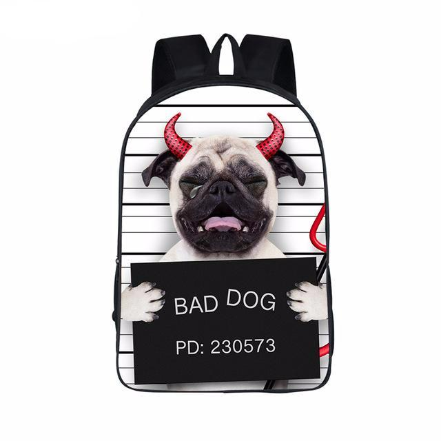 Funny Bad Pug Dog Backpack - K