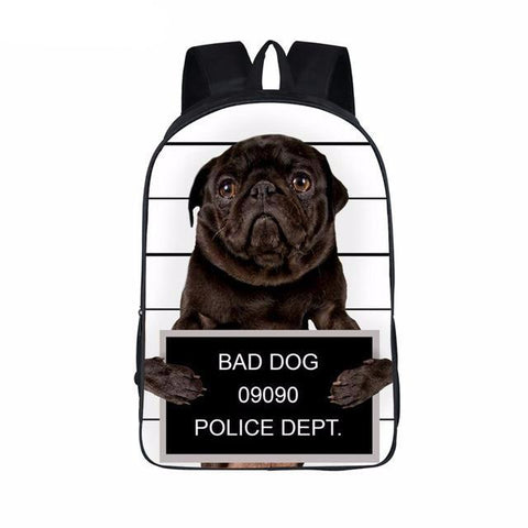 Image of Funny Bad Pug Dog Backpack - K