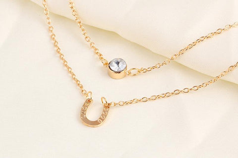 Vintage Double Layer Gold Chain Hoof Horse Necklaces - TU
