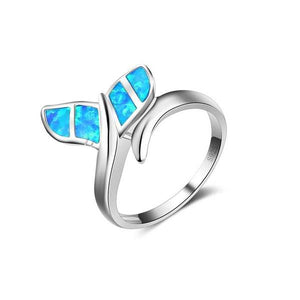 Whale Tail Blue Ring - M