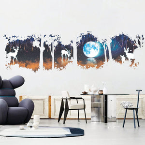 Forest Under Moon Wall Stickers - TU