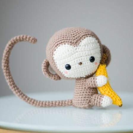 Monkey Wool Crochet Amigurumi - Handmade Product