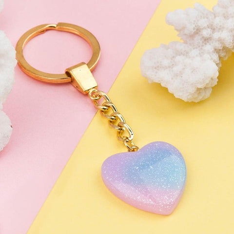 Image of Blue Pink Glitter Key Chains Cute - K