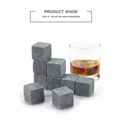 Image of 9pcs/set Whiskey Reusable Chilling Rocks Cubes -